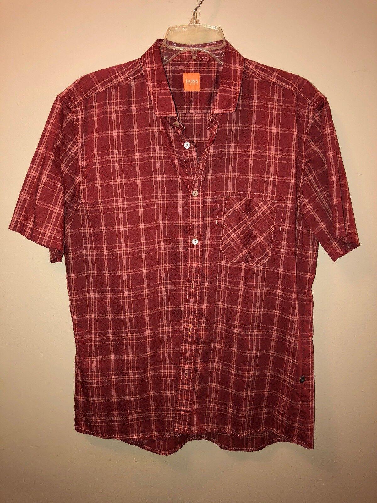 cfc6c8e4 BOSS Men's Large Red Tan Plaid SS Shirt orange + noutuq5959-Dress Shirts