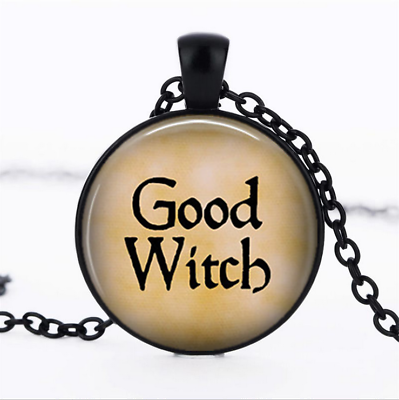GOOD WITCH Black Glass Cabochon Necklace chain Pendant