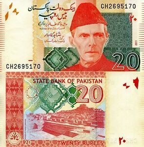 Details about PAKISTAN 20 Rupees Banknote World Paper Money Currency BILL  p55e Note Ali Jinnah