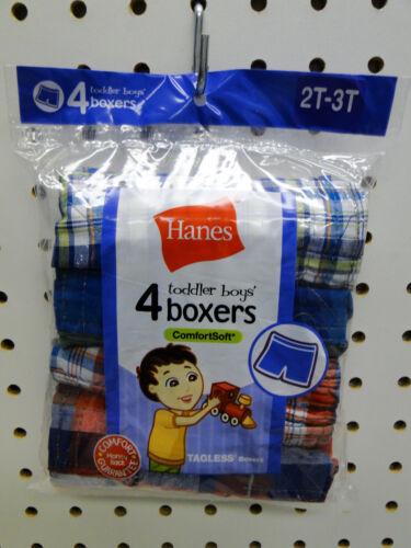 4pr Toddler Boys Hanes Plaid Boxer Shorts Underwear Sizes 2T-3T or 4T