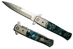 Blue-Marble-Handle-Milano-Godfather-Style-ASSISTED-OPENING-POCKET-KNIFE