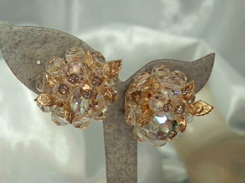 Vendome Green Cameo Earrings Vintage 1970s Gold Clip Ons