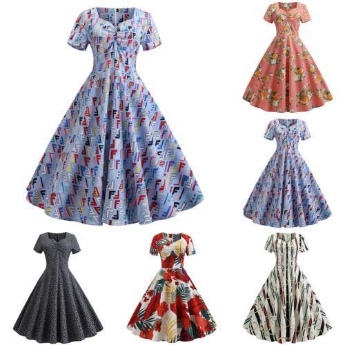 Women/'s Floral Rockabilly Dress 50/'s 60/'s Petticoat Hepburn Party Dress Costume