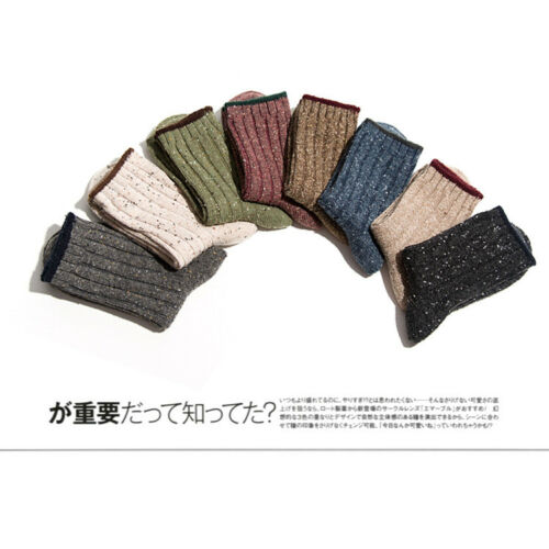 1//3//6 Pairs Classic Spots Revers Women Cashmere Wool Thick Warm Soft Solid Socks
