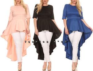 Details about Plus Size Hi Low Cascade Peplum Dress Top Blouse Tunic