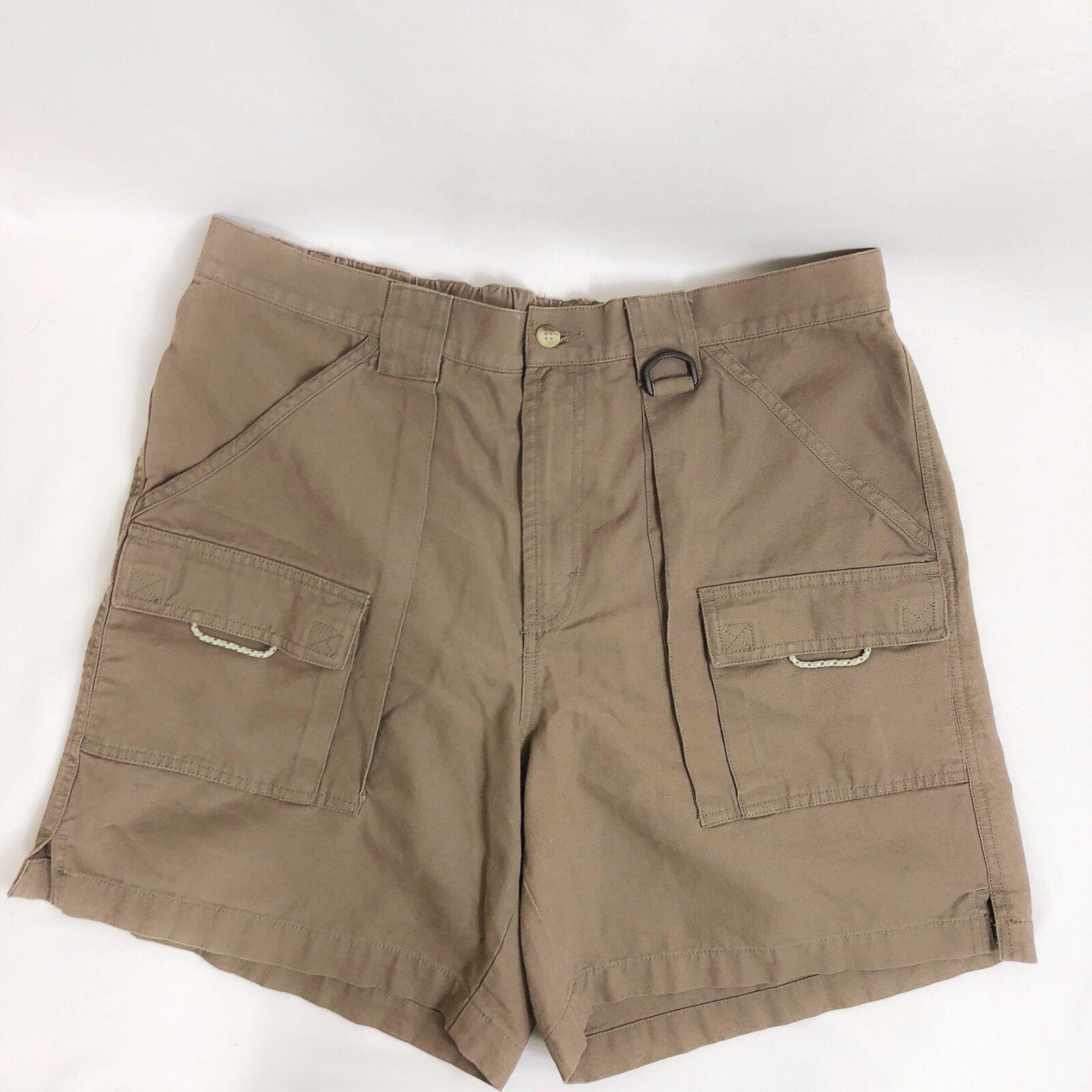 Columbia Performace Fishing Gear Men Large Brown Khaki Cargo Utility Shorts
