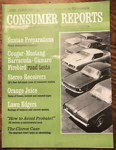 Ford Mustang Consumer Reports >> Details About July 1967 Consumer Reports Ratings Of Cougar Mustang Barracuda Mcintosh Mac