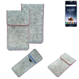 Copertura-in-feltro-p-Oukitel-K6-grigio-chiaro-bordo-rosso-Custodia-tasca-borsa