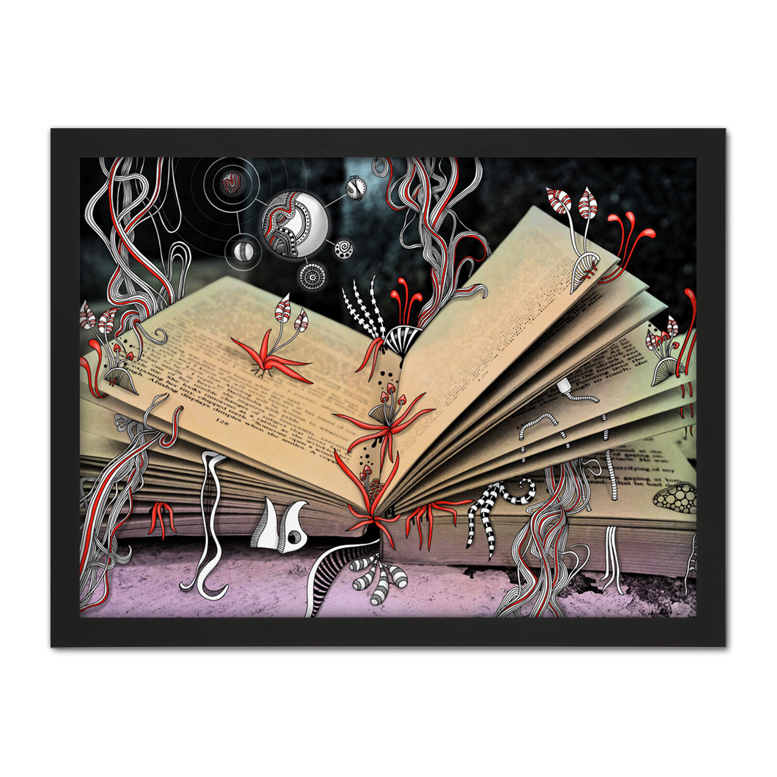 Abstract Fantasy World Book Doodle Painting Framed Wall Art Print 18X24 In
