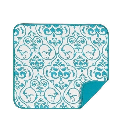 NEW Envision Home Dish Drying Mat Teal Damask