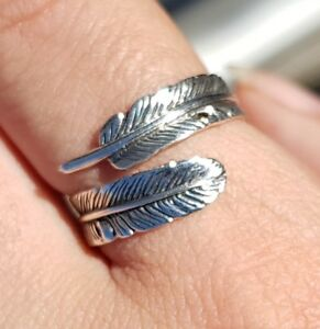 Feather-925-Sterling-Silver-Adjustable-Ring-Size-L-1-2-to-S-Oxidized-Angel
