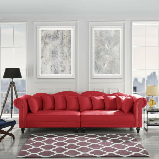 Brilliant Chesterfield Large Living Room Sofa Classic Velvet Upholstered Couch Red Alphanode Cool Chair Designs And Ideas Alphanodeonline