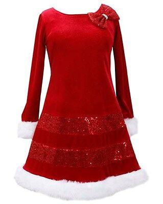 bonnie jean sequin red bow glitter velvet santa christmas dress girls 4 16