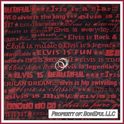 BonEful Fabric CottonQuilt Music Elvis Band Star King RockNRoll Red Stripe SCRAP