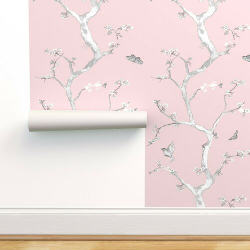 Peel-and-Stick Removable Wallpaper Chinoiserie Baby Pink Flower Tree Bird