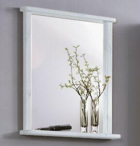 Massivholz Spiegel Mit Ablage Kiefer Weiß Flurspiegel Bad