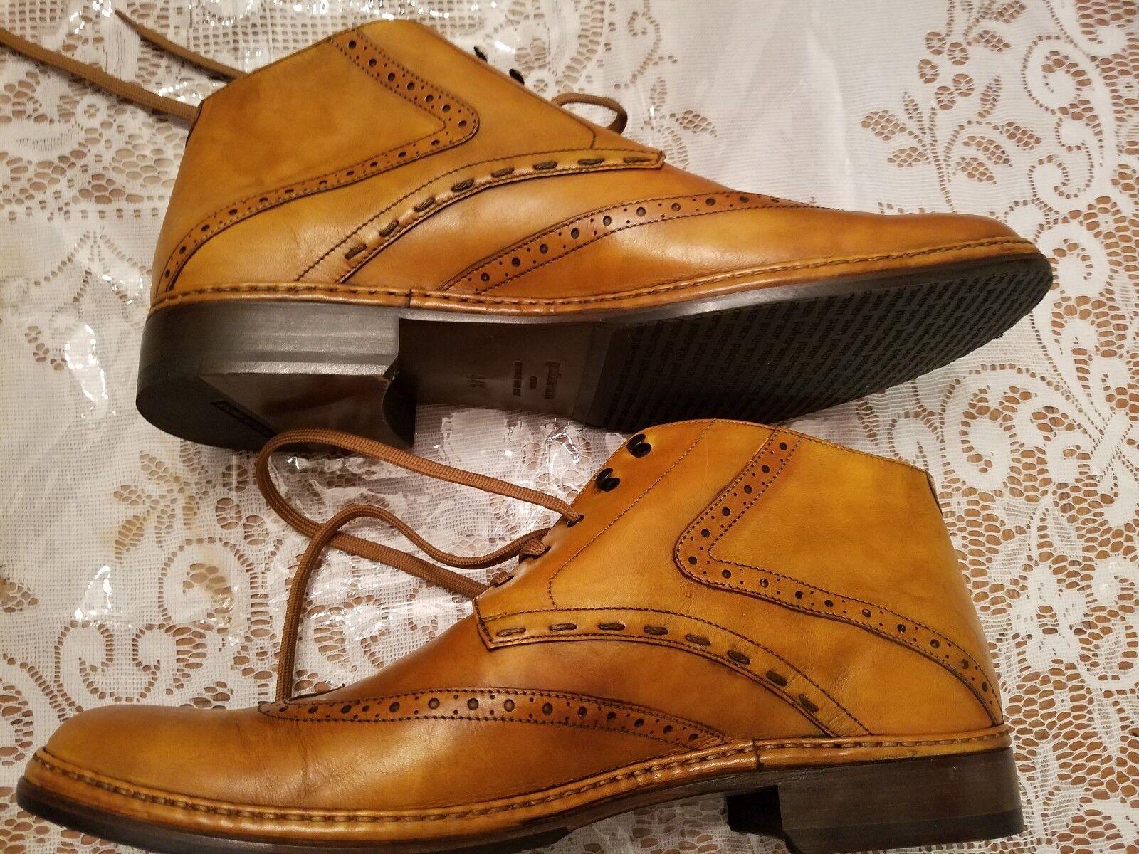 PAKERSON Ocher Handmade Italian Leather Wingtip Ankle Boots classiche Scarpe classiche Boots da uomo 7f9aeb