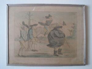 """Gravure ancienne en couleur Humoristique Caricaturale """" LE VENT DE BISE """" XIX e"""