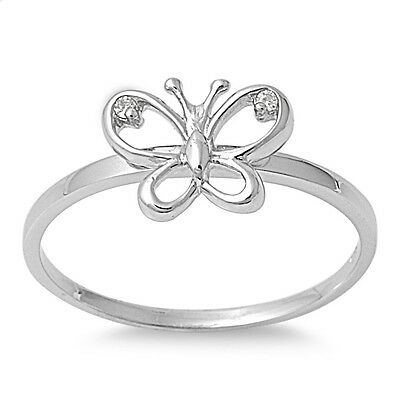 .925 Sterling Silver Nature Lucky Butterfly Clear CZ Ring - Sz 5 6 7 8 9