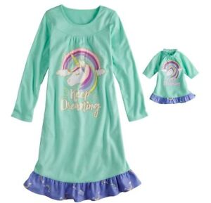 Girl 4-14 and Doll Matching Unicorn Nightgown Clothes ft American ... def5709ca