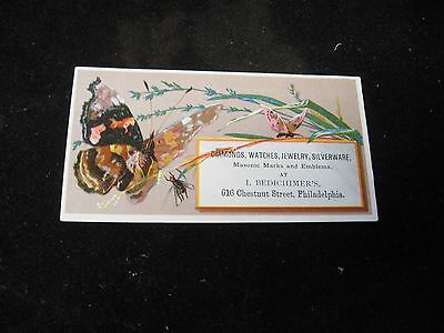 Collectibles 1800's Bedichimer's Jeweler Philadephia Pa Butterfly Victorian Trade Card Other Victorian Trade Cards