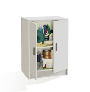 Mueble armario multiusos 2 puertas, armario auxiliar bajo, color Blanco