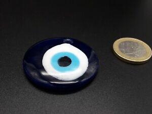1 A 20 Anhänger Glas Blau Auge Türkisch Rund 40mm Amulett Talisman