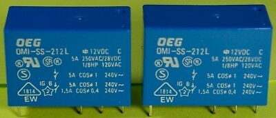 28VDC Contacts NEW OEG OMI-SS-212LM DPST-NO 12V DC Coil PC Relay 5A @ 250VAC