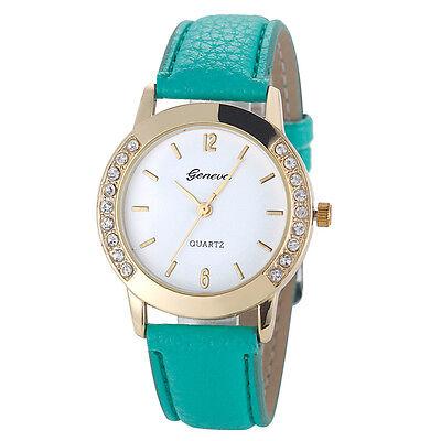 Geneva Fashion Watch Women Diamond Analog Leather Quartz Bracelet Wrist Watch