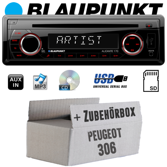 Autoradio Blaupunkt per Peugeot 306 CD/MP3/USB Set di Montaggio Veicoli
