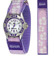 Childs Girl's Watch With Floral Flower Desgin Velcro Strap G'te Pink,Purple,Blue