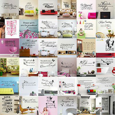 Wholesale Famous Quote Words Poem Art Vinyl Wall Stickers Decal Mural Room Decor