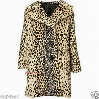 Topshop Leopard Animal Faux Fur 3 Button Celebrity 60s Vtg Car Coat 14 42 US10 M