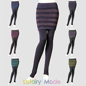 Leggings mit Minirock 2in1 einteilig grau Hose matte Strumpfhose Lafairy NEU DE