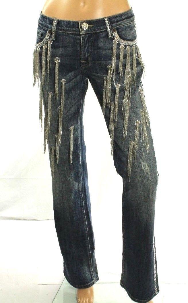 Claudio Milano Donna Jeans Cristallo Swarovski Decorato Taglia 11