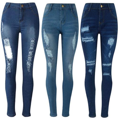 Women Denim Ripped Pencil Pants High Waist Stretchy Jeans Leggings Slim Trousers