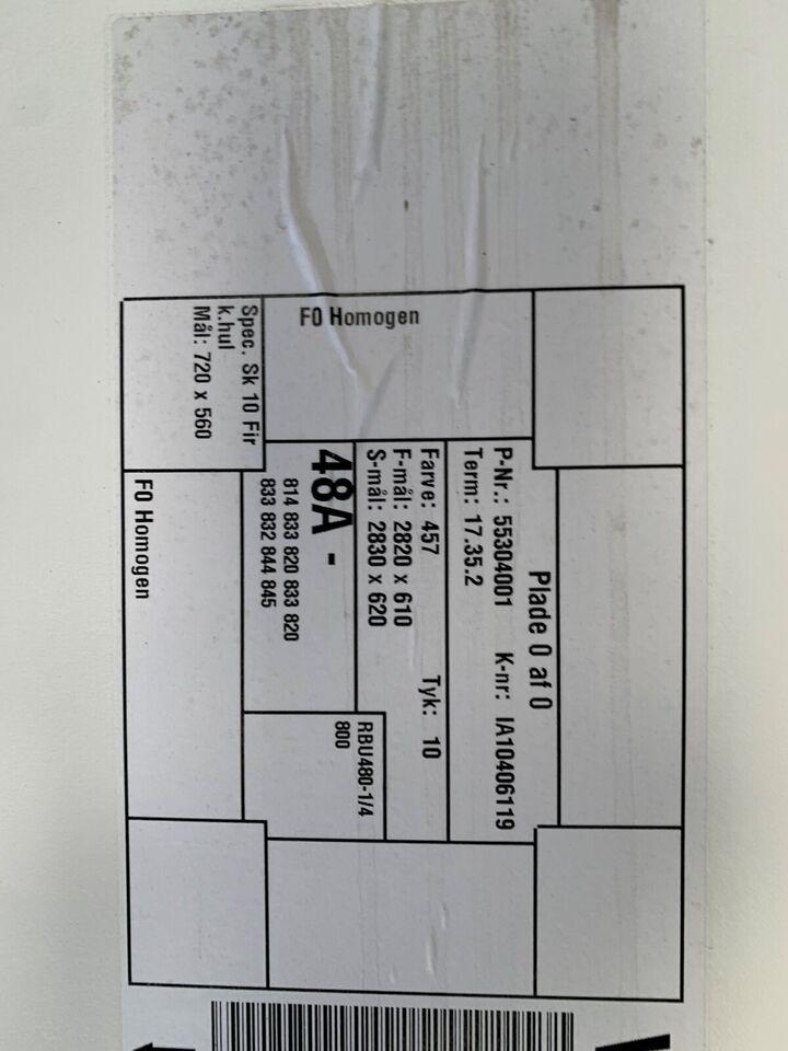 Bordplade, F0 homogen