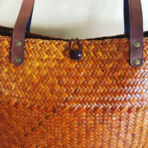 Vintage Gre Bhmische Reed Boho Bag Zarte Sommer Faser Medium Bucket A54Tq