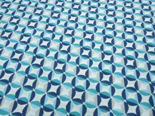 Stoff Baumwolle Popeline Ornamente grafische Muster blau petrol weiß Kleiderstof