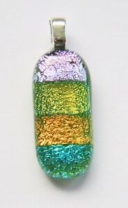 Genuine-Hand-Crafted-Petite-Dichroic-Glass-Pendant-Green-Candy-Stripe