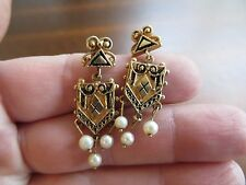 Victorian Etruscan Style 14k Solid Gold Enamel Real Pearls Dangle Earrings 1.5""