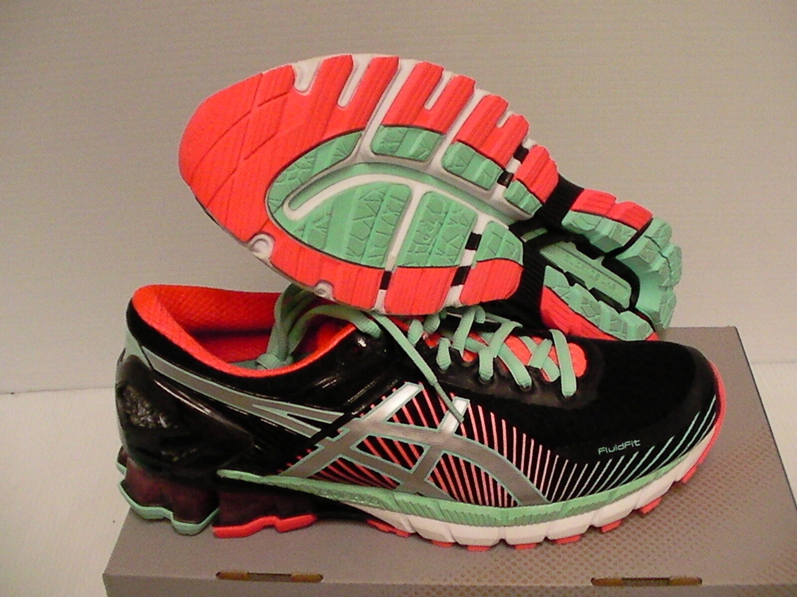 Asics women's running shoes gel kinsei 6 black silver flash coral size 5.5 us