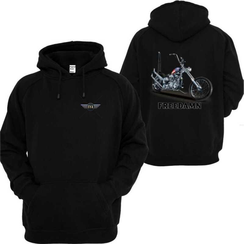 Zuversichtlich Kapuzensweatshirt Schwarz Vintage Hd Biker Chopper&oldschoolmotiv Freedawn Attraktive Mode