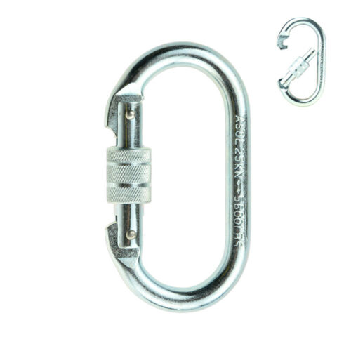 25KN Stainless Steel Carabiner Screw Locking Oval Carabiner for Rescue Climbing