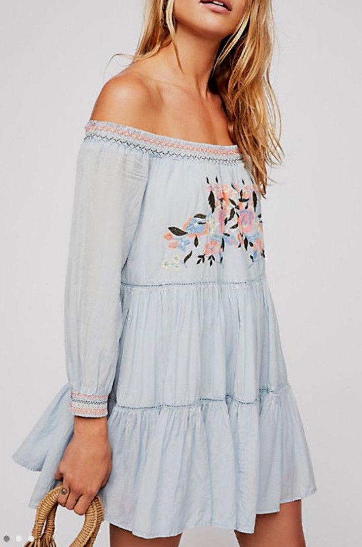 Free People OB816795 Sun Beams Embroiderot Off-The-Shoulder Mini Dress Blau