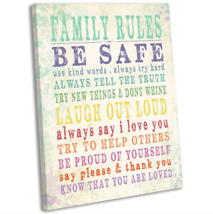 Image Is Loading Family Rules Canvas Print Typographic Framed Wall Art