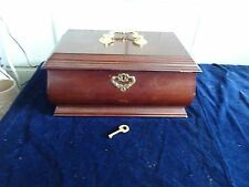 Vintage powell Wooden Jewellery Chest Box green Fabric Lining with lock & key