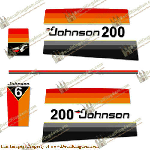 Johnson 1977 Outboard Engine Decal Kit (Multiple HP) 3M Marine Grade
