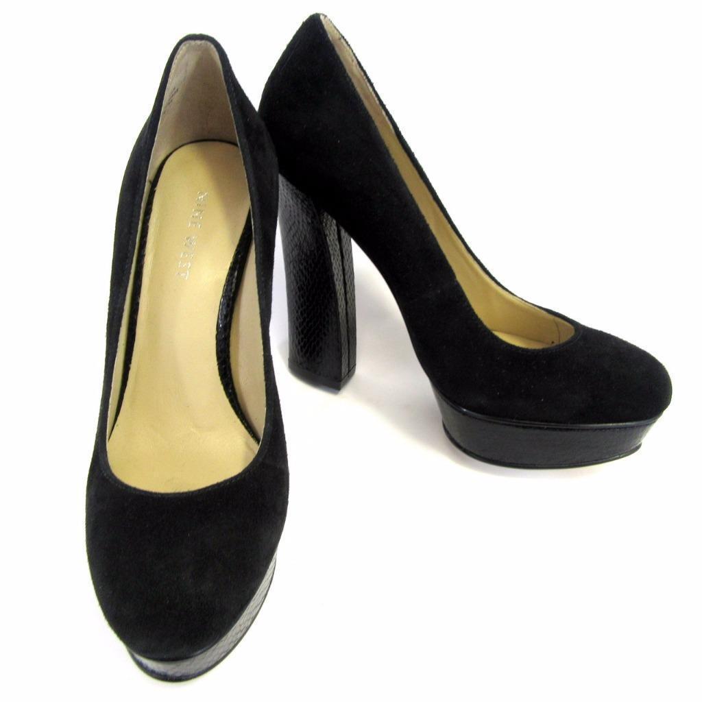 Nine West Designer Heels - Black Leather + Snakeskin Effect Heel - Size 4
