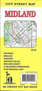 Coleman Michigan Map.City Street Map Of Midland Michigan By Gmj Maps 9781770685604 Ebay